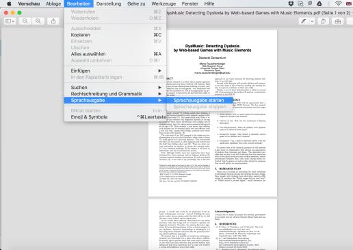 """Zeigt die Funktion Sprachausgabe im Program """"Vorschau"""" von MacOS"""